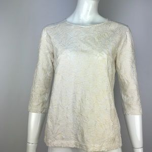 J. Crew Tops - J Crew Ivory Lace Crochet Embroidered Top